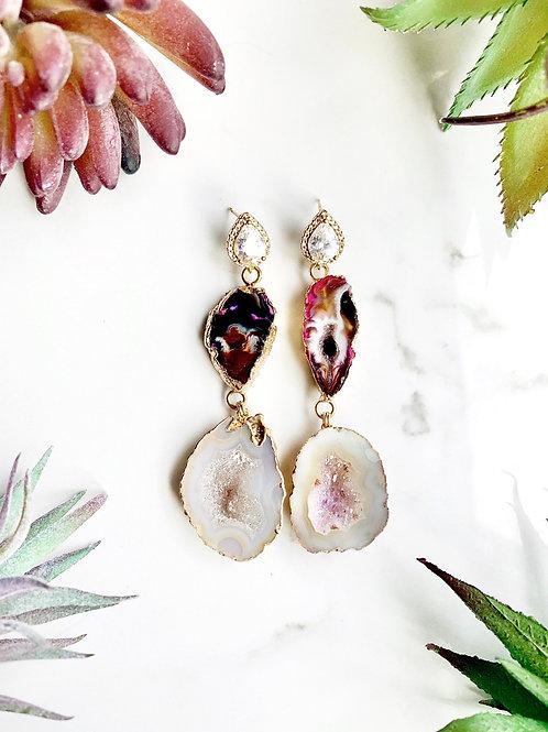 Fuchsia Geode Drop Earrings