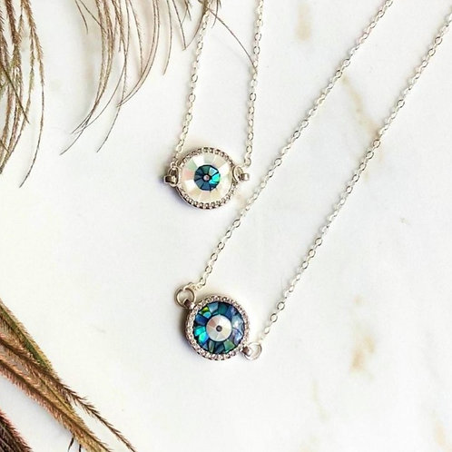 Blue Abalone Shell Evil Eye Necklace