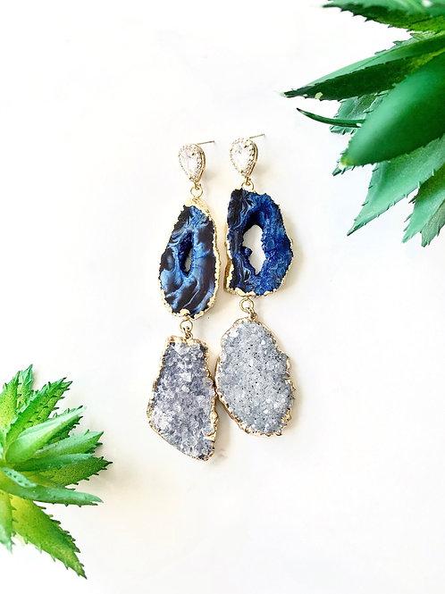 Blue Agate Druzy Earrings