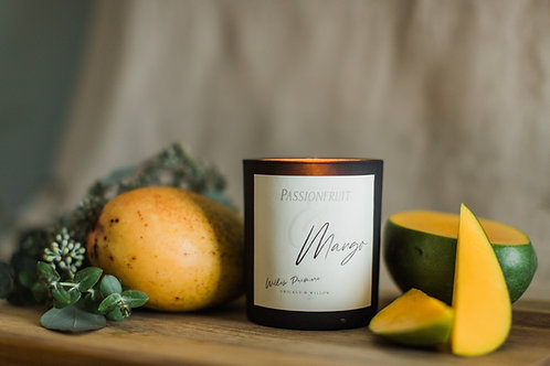 Coconut Soy Wax Candle with Crackling Wood Wick, Passionfruit and Scented Luxury