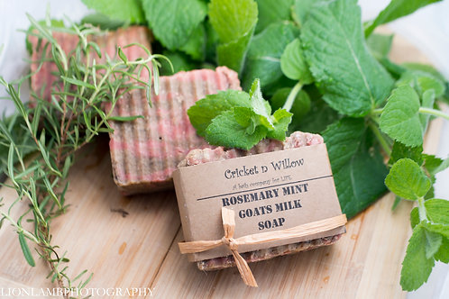 Peppermint Rosemary Lavender Bar Soap with Goats Milk, Best for Dry Skin