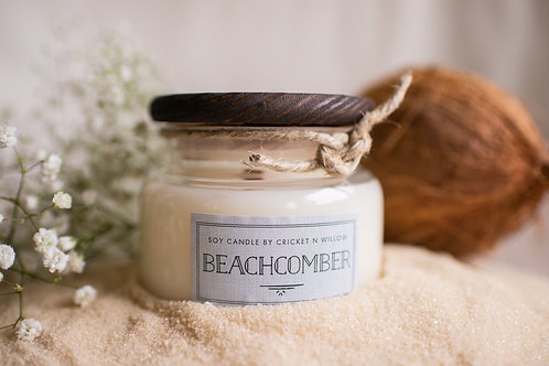 Luxury Soy Wax Candle with Crackling Wood Wick Beachcomber Fresh Scented