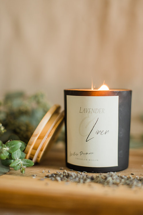 Lavender and Linen Crackling Wood Wick Candle 11 oz