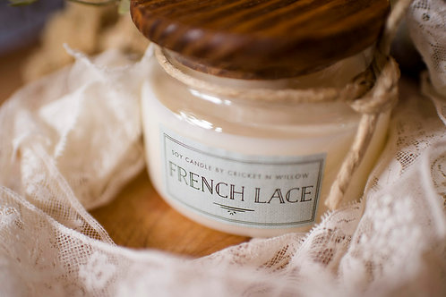 Scented Soy Candle with Wood Wick French Lace Candle Home Living Room Decor,