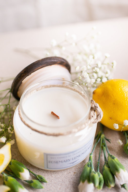 Rosemary Lemongrass Scented Soy Candle with Crackling Wood Wick