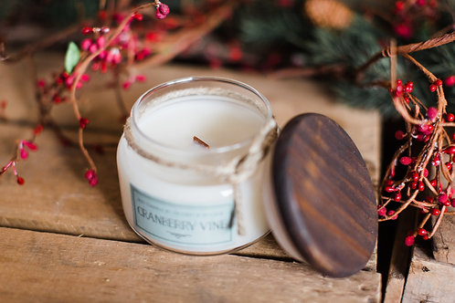 Cranberry Scented Soy Candle with Crackling Wood Wick
