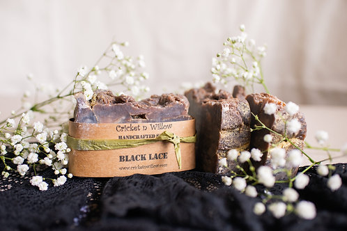 Vanilla Scented Black Lace Handmade Soap with Organic Oils, Activated Charcoal