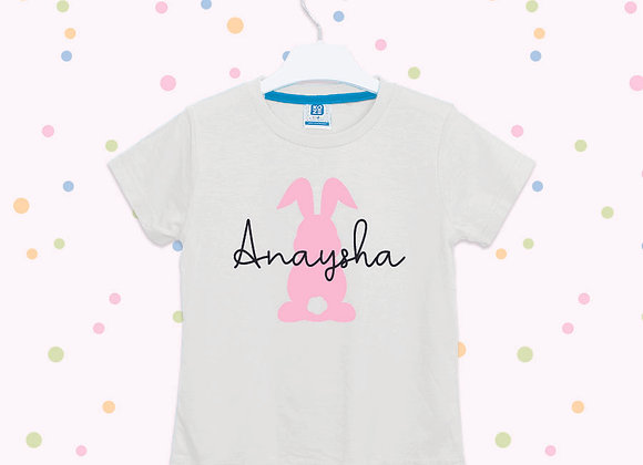 Personalised Bunny Easter T-shirt Boys Girls, Bunny Design