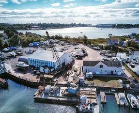 aerial side view of Gwenmor Marina Mystic CT