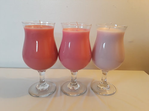 16 oz pretty wine glass filled candles