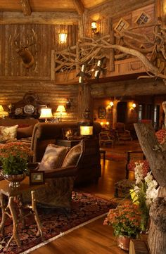 log cabin railing