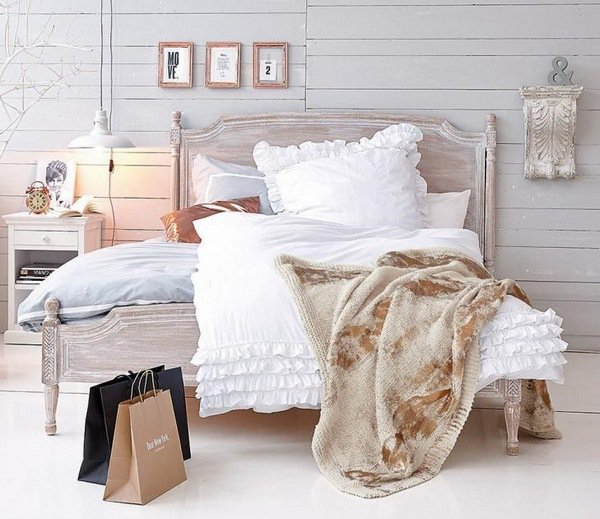 shabby gray bed