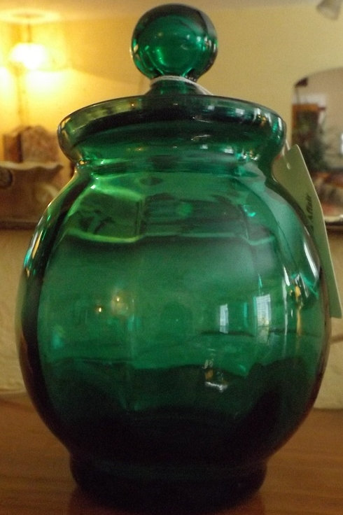 Antique Hand Blown Green Jar (call for price)