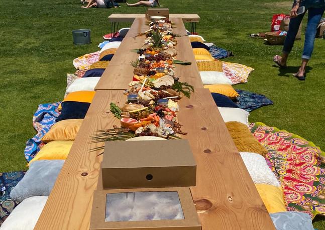 Boho style beachside grad picnic
