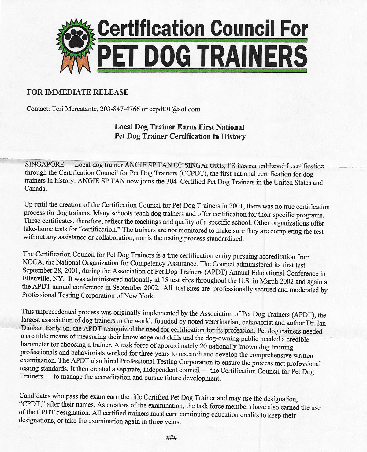 CCPDT press release