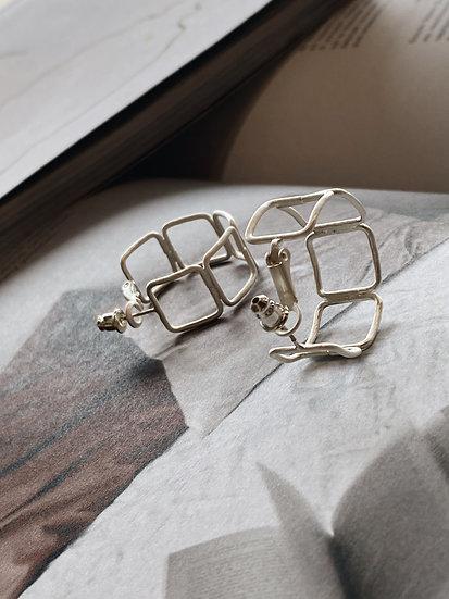 Серьги-кольца c посеребрением
