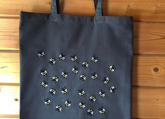 Lots Of Bees Grey Tote Bag