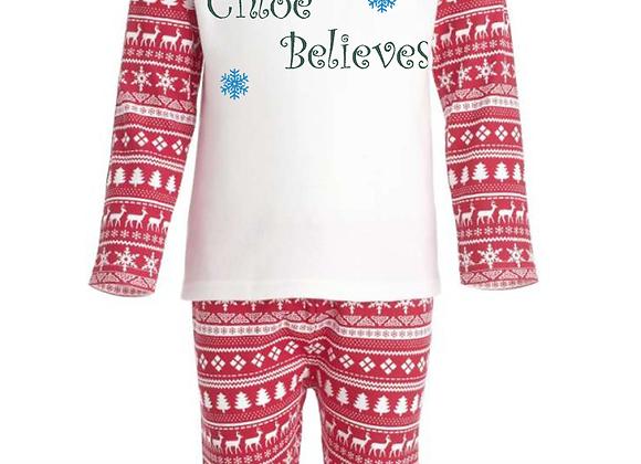 Children's Personalised (Name Believes) Red Christmas Inspired Pyjamas