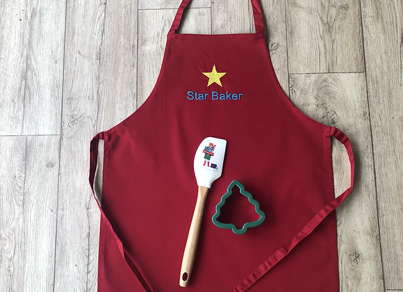 Star Baker Apron With Christmas Cookie Cutter & Spatula
