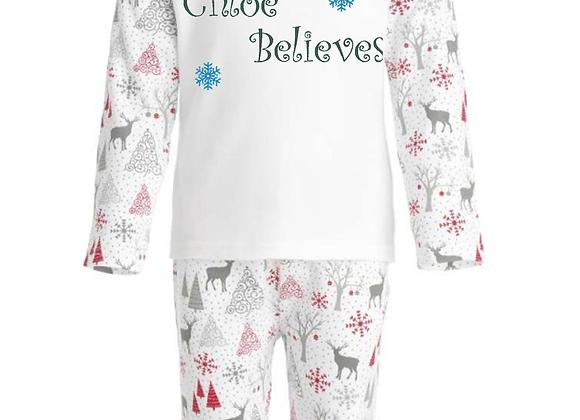Children's Personalised (Name Believes) Grey And Red Reindeer Christmas Pyjamas