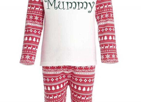Ladies Personalised Red Christmas Inspired Pyjamas