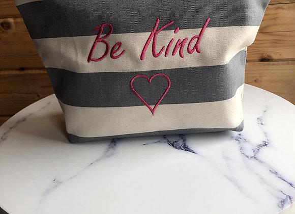 "Nautical Stripe ""Be Kind"" Make-Up Bag"