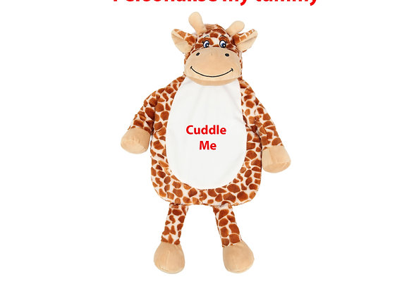 Personalised Giraffe Hot Water Bottle Cover Including Hot Water Bottle