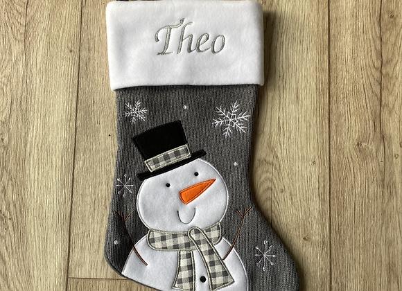 Personalised Snowman Christmas Stocking Grey