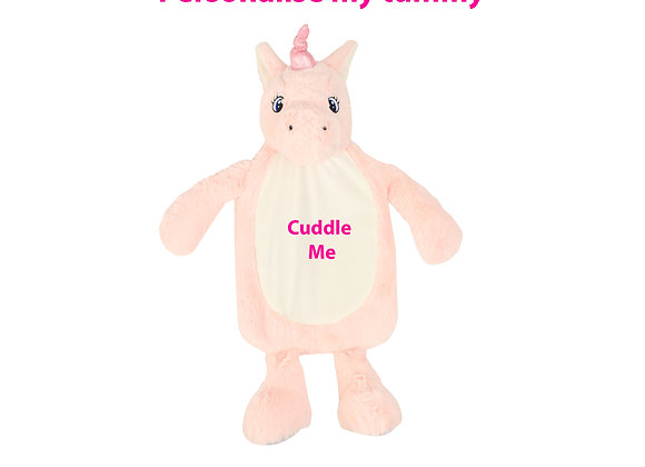 Personalised Unicorn Hot Water Bottle Cover Including Hot Water Bottle
