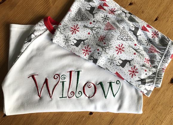 Children's Personalised Grey And Red Reindeer Christmas Pyjamas