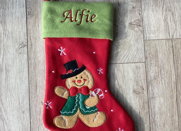 Personalised Gingerbread Man Christmas Stocking