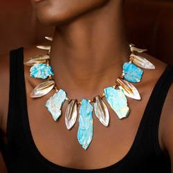 Jasper & shell collar necklace