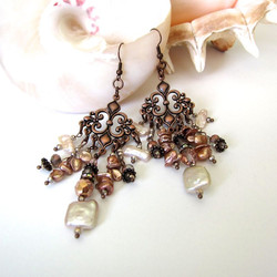 Pearl & crystal chandelier earrings