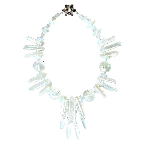Quartz Crystal/blown glass necklace with sterling silver snowflake clasp