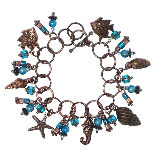 Turquoise & copper sea charm bracelet