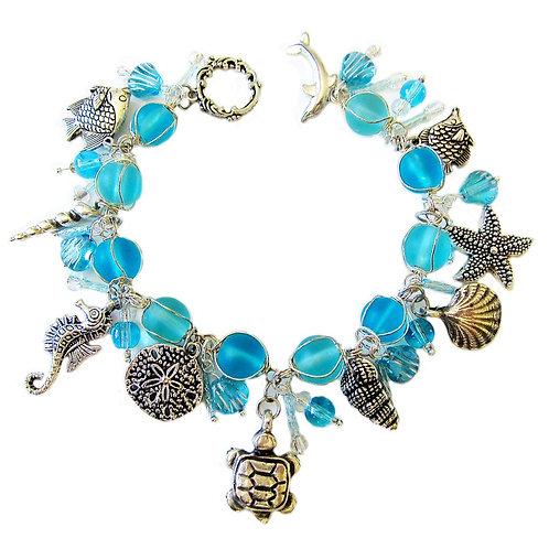 Turquoise & silver sea charm bracelet
