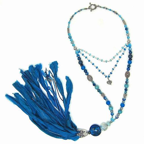 Marine blue mixed bead sari silk tassel necklace