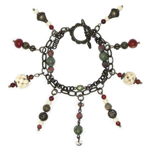Mixed bead chain charm bracelet