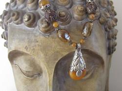 Tibetan amber pendant necklace