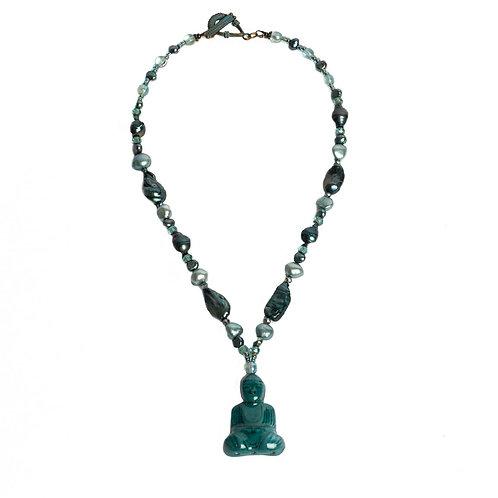 Buddha pendant mixed bead necklace