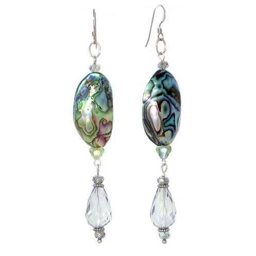 Abalone & crystal drop dangle earrings
