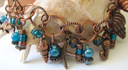 Copper & turquoise charm bracelet