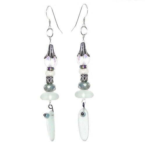 Sea glass/silver dangle drop earrings