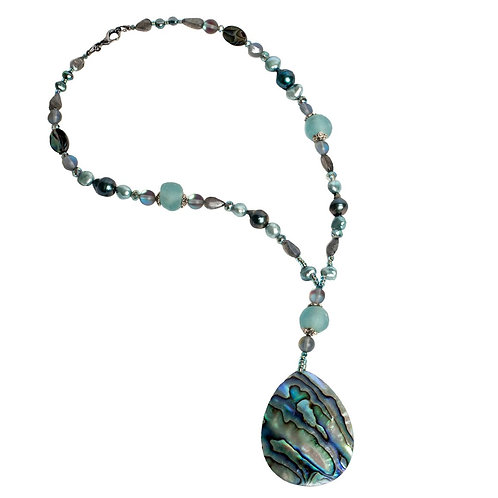 Abalone & pearl pendant necklace
