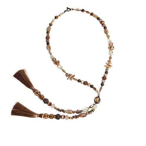 Cafe' au Lait double tassel mixed bead lariat necklace