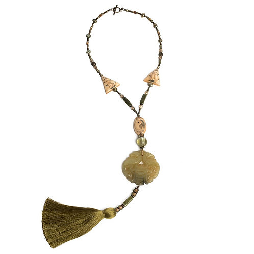 Carved jade medallion mixed bead/tassel necklace
