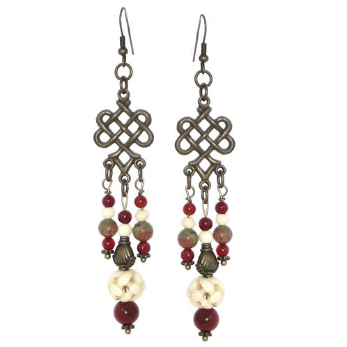 Carved bone & agate chandelier earrings