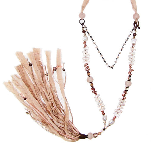Blush pink mixed bead sari silk tassel necklace