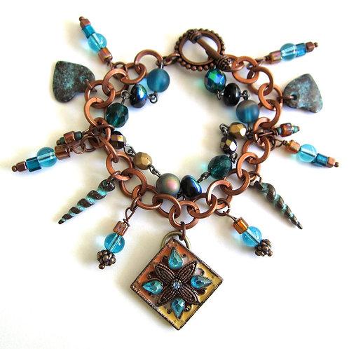 Verdigris/copper charm bracelet
