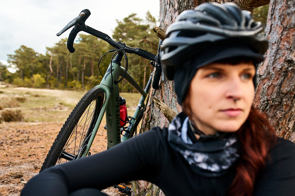 Female Cyclist and a Specialized Turbo Creo SL Comp Carbon EVO